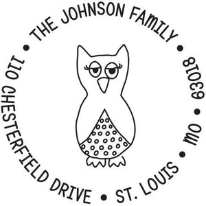 Kelly Hughes What a Hoot Personalized Self-inking Round Return Address Stamp