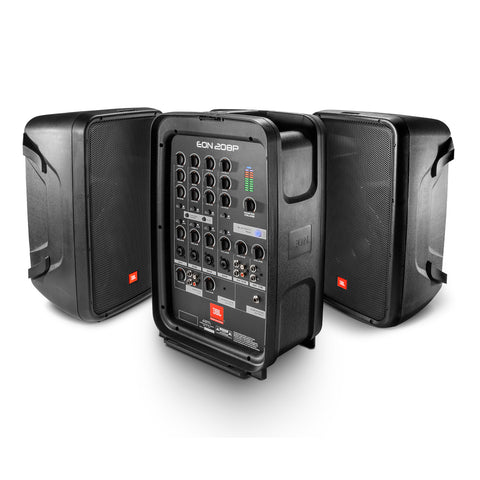 "JBL EON208P Portable 8"" Speaker System with Detachable Powered Mixer, Vocal Mic and Bluetooth® Audio"