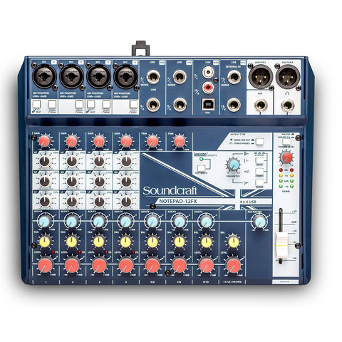SOUNDCRAFT NOTEPAD-12FX, 4-mono 4-stereo Analogue Mixer with USB I/O + FX
