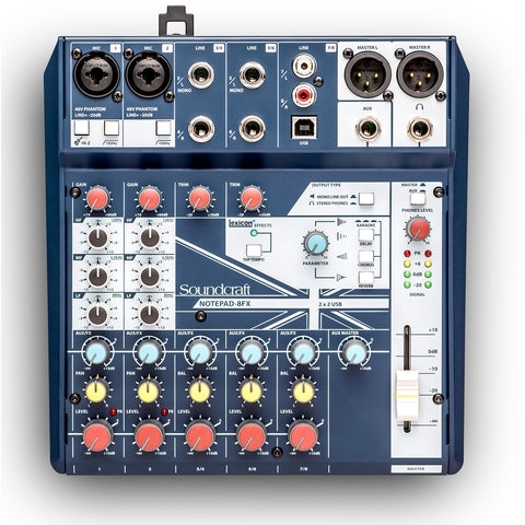 SOUNDCRAFT NOTEPAD-8FX, 2-mono 3-stereo Analogue Mixing Console with USB I/O Mixer + FX
