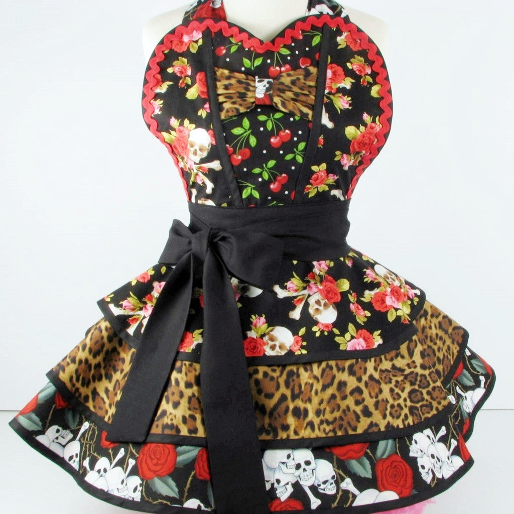 Cherry Pinup Skulls and Roses Apron