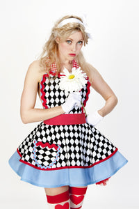 Alice in Wonderland Harlequin Tea Party Apron
