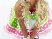 Christie Creme Retro 50s Donut Shop Waitress Apron Chartreuse and Pink Polka Dots