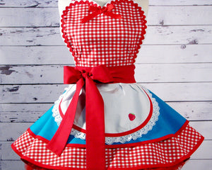 Dotties Diner Retro 50s Waitress Apron Teal and Red