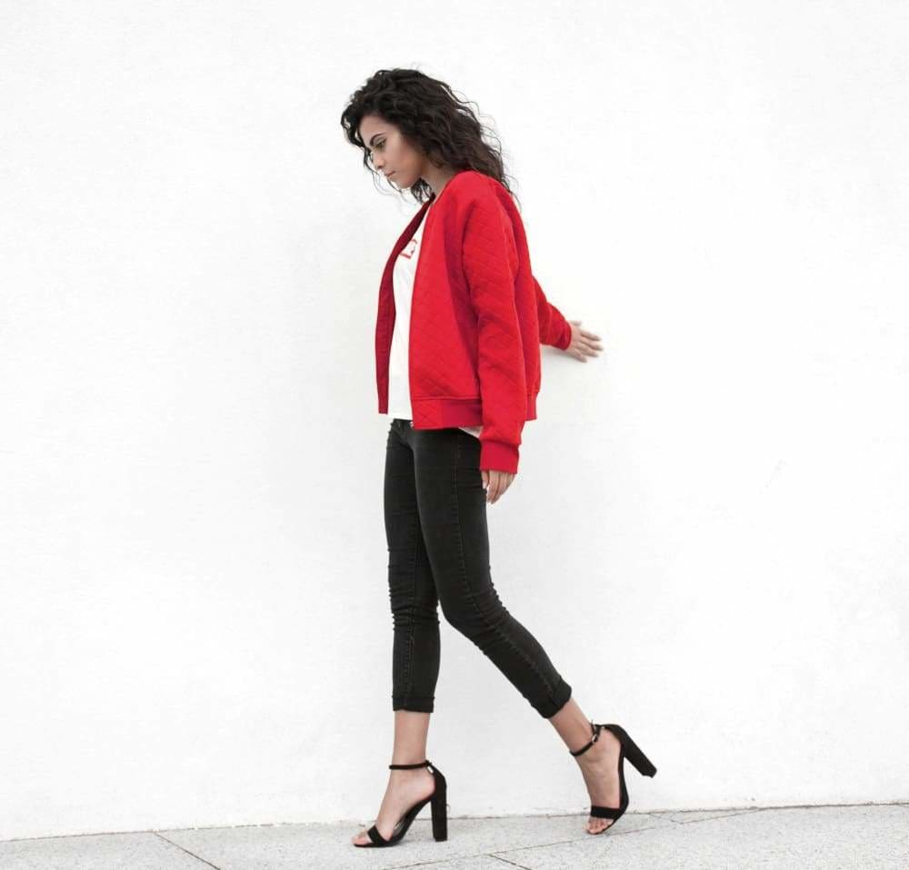 Genuine By Anthony Ladies Red Couture Bomber Jacket - Genuine By Anthony