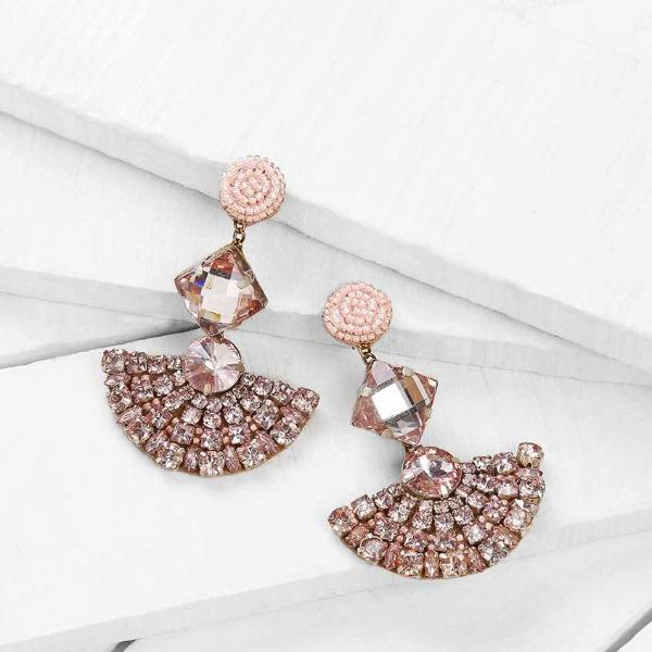 Deepa by Deepa Gurnani Handmade Peach Color Marcie Earrings on Wood Background