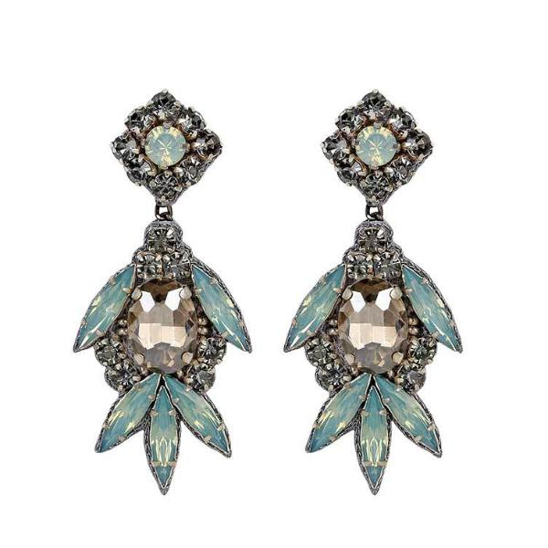 Deepa by Deepa Gurnani Handmade Shirene Earrings in Gunmetal