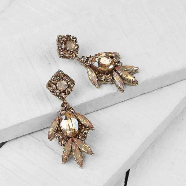 Deepa by Deepa Gurnani Handmade Shirene Earrings in Gold on Wood Background