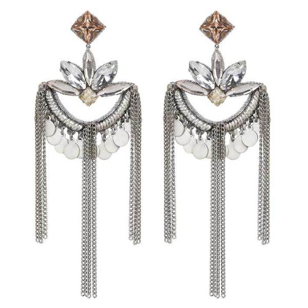 Deepa by Deepa Gurnani Handmade Elisha Earrings in Silver