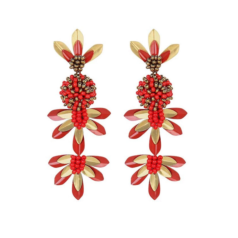 Deepa by Deepa Gurnani Handmade Teigen Earrings Red