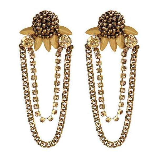 Deepa by Deepa Gurnani Handmade Ginnie Earrings in Gold