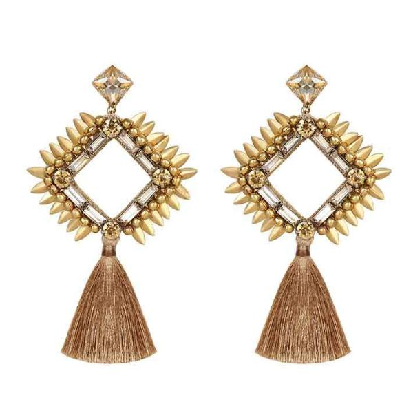 Deepa by Deepa Gurnani Handmade Priya Earrings Gold