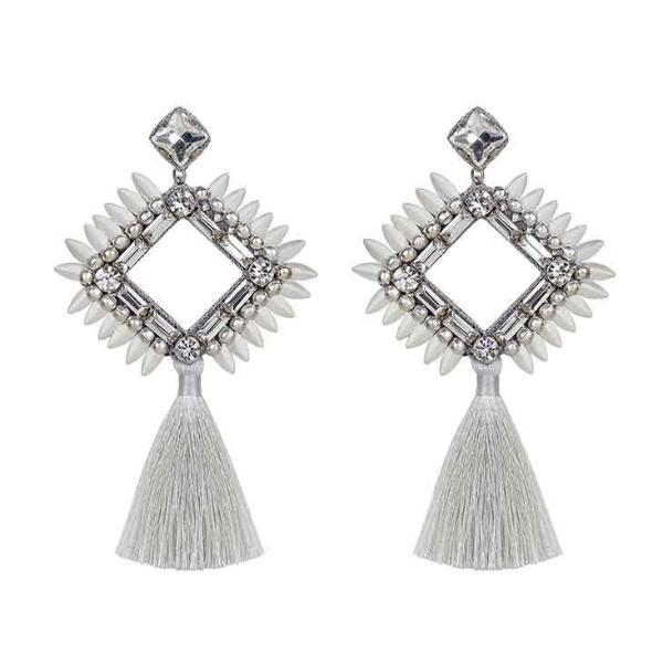 Deepa by Deepa Gurnani Handmade Priya Earrings Silver