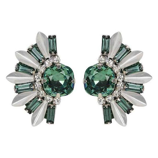 Deepa by Deepa Gurnani Handmade Bynes Earrings Emerald