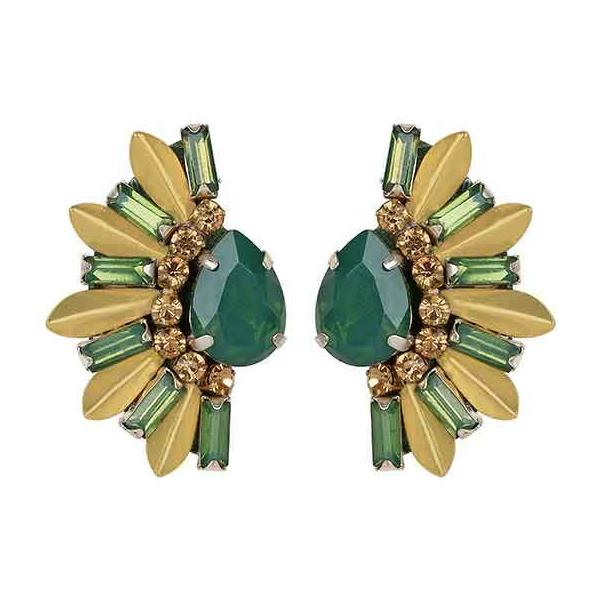 Deepa by Deepa Gurnani Handmade Sheilah Earrings in Emerald