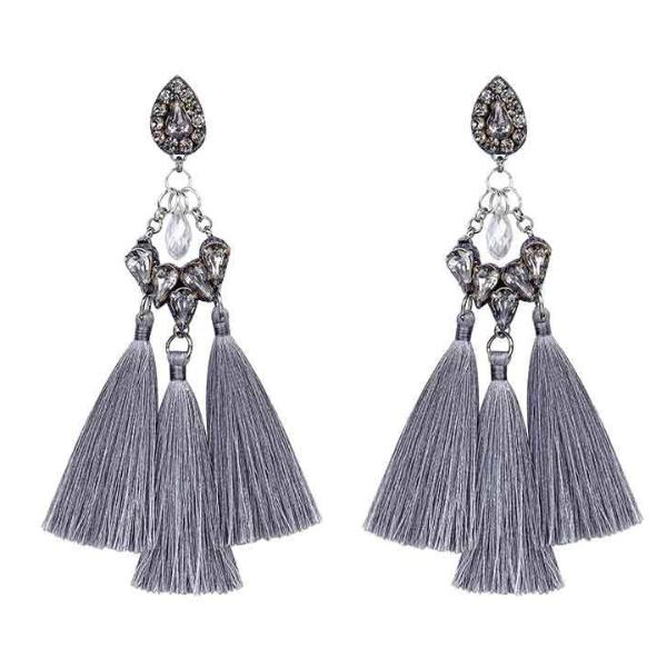 Deepa by Deepa Gurnani Handmade Lauren Earrings in Gray