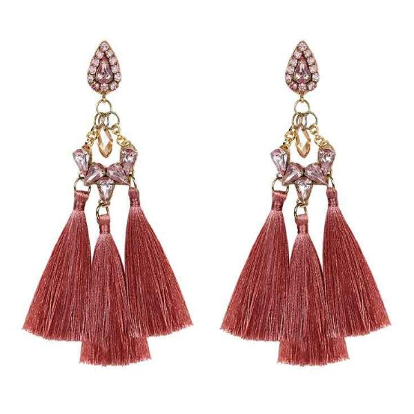Deepa by Deepa Gurnani Handmade Lauren Earrings in Peach