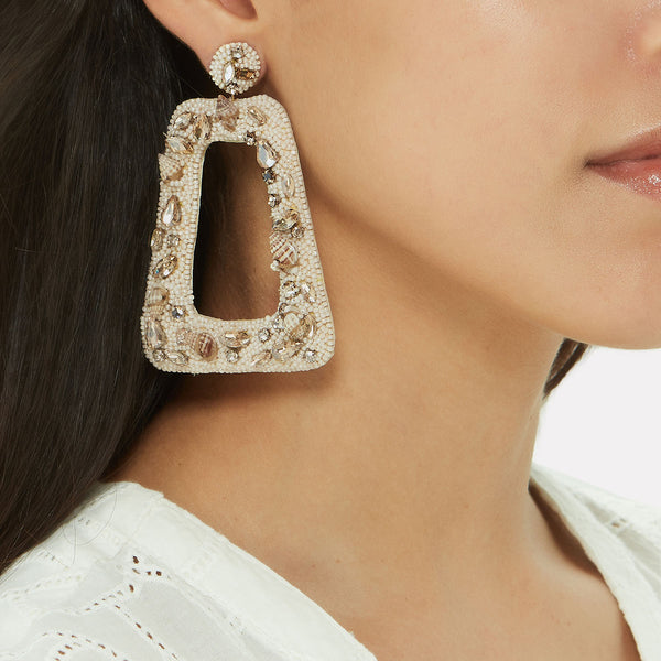 Unique Handmade Statement Earrings | Hand Embroidered Earrings by Deepa Gurnani