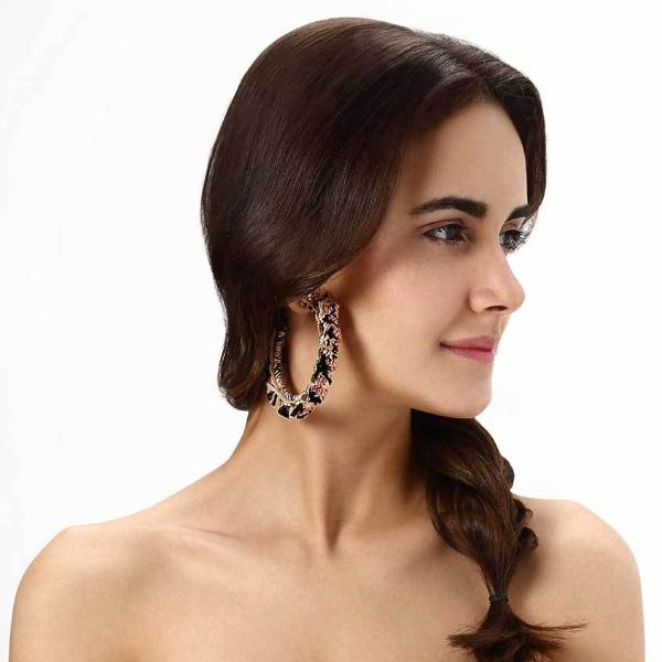 Model Wearing Deepa by Deepa Gurnani Lightweight Handmade Peach Color Elaina Earrings