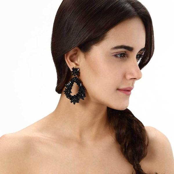 Model Wearing Deepa by Deepa Gurnani Handmade Black Belie Earrings
