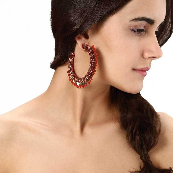 Model Wearing Deepa by Deepa Gurnani Handmade Shaylee Hoop Earrings in Red