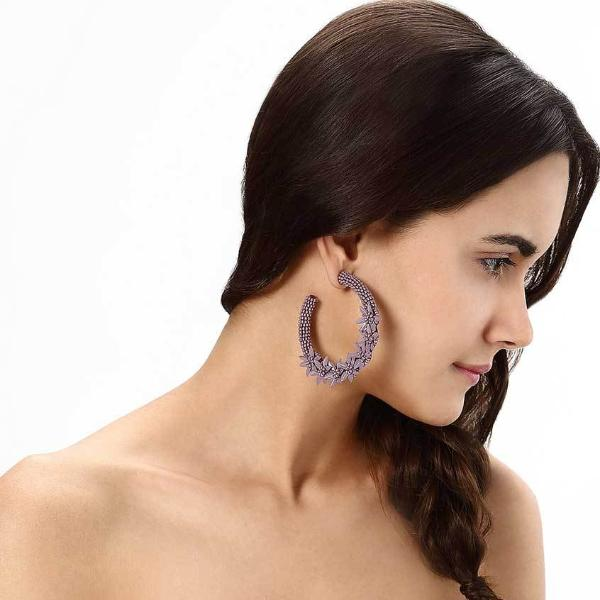 Model Wearing Deepa by Deepa Gurnani Handmade Tyla Earrings in Lavender
