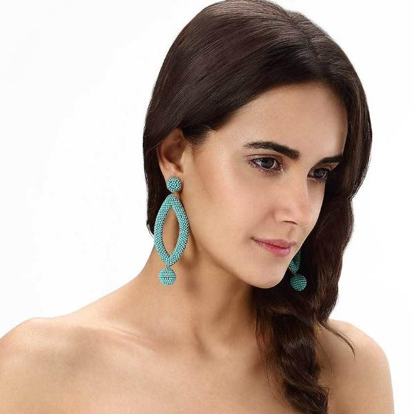 Model Wearing Deepa by Deepa Gurnani Handmade Turquoise Lee Earrings