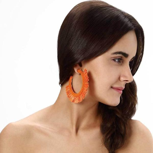 Model Wearing Deepa by Deepa Gurnani Handmade Orange Haddie Earrings
