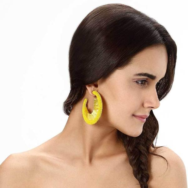 Model Wearing Deepa by Deepa Gurnani Handmade Giona Earrings in Yellow