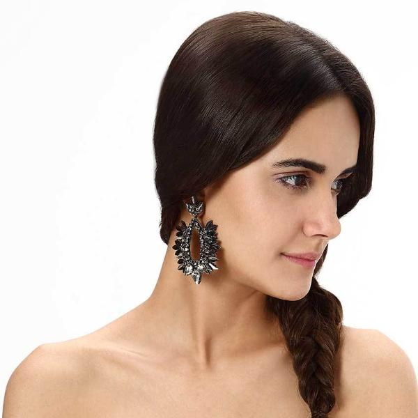 Model Wearing Deepa by Deepa Gurnani Handmade Izzie Earrings in Gunmetal