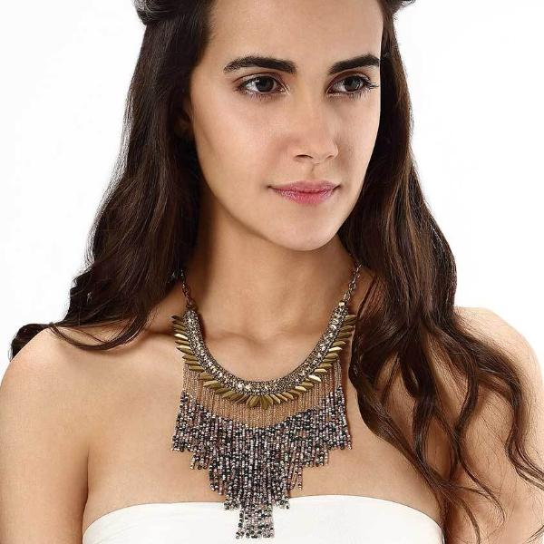 Model Wearing Deepa by Deepa Gurnani Handmade Cheryl Necklace in Gold
