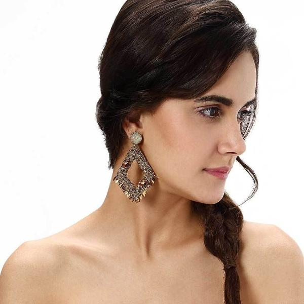 Model Wearing Deepa by Deepa Gurnani Handmade Gold Christi Earrings