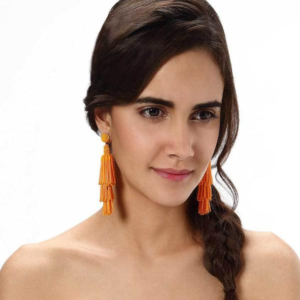 Model Wearing Orange Rain Earrings