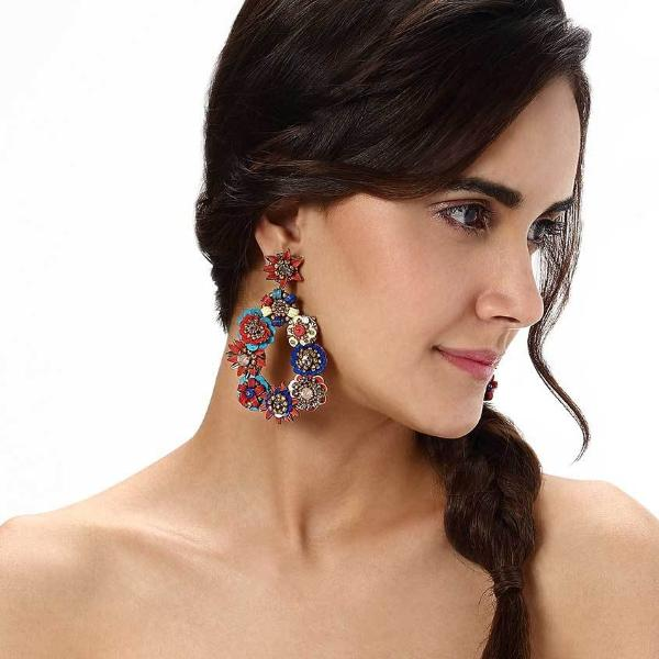Model Wearing Deepa by Deepa Gurnani Handmade Gold Multi Color Cherise Earrings