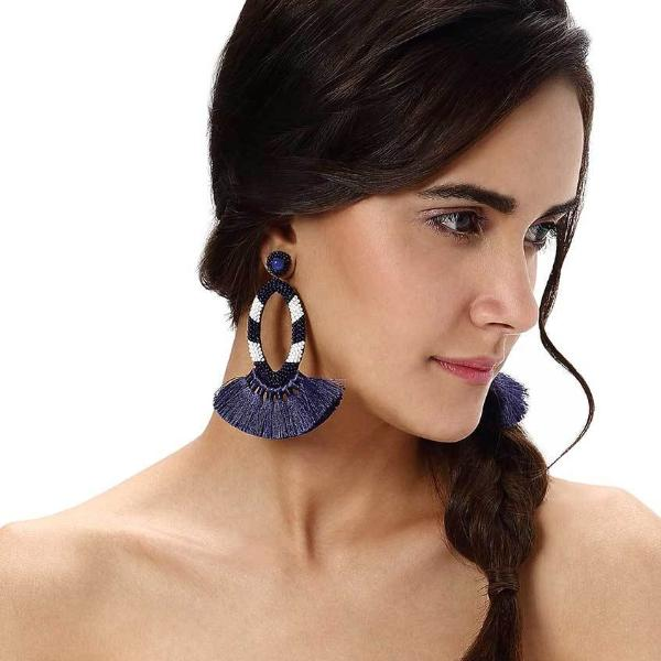 Model Wearing Deepa by Deepa Gurnani Handmade Klarissa Earrings in Cobalt