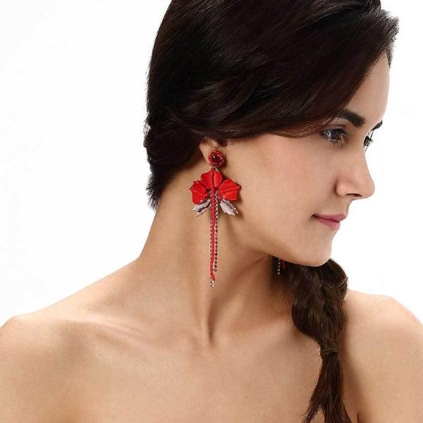 Model Wearing Deepa by Deepa Gurnani Handmade Red Belinda Earrings