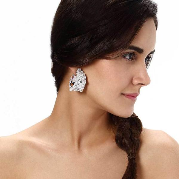 Model Wearing Deepa by Deepa Gurnani Handmade Norah Earrings in Ivory