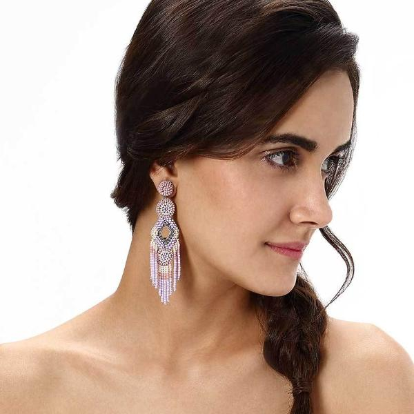 Model Wearing Deepa by Deepa Gurnani Handmade Lavender Bridget Earrings