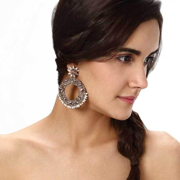 Model Wearing Deepa by Deepa Gurnani Handmade Breena Earrings
