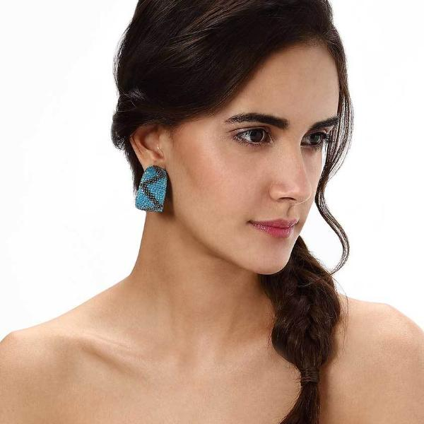 Model Wearing Deepa by Deepa Gurnani Handmade Pippa Earrings in Sky Blue