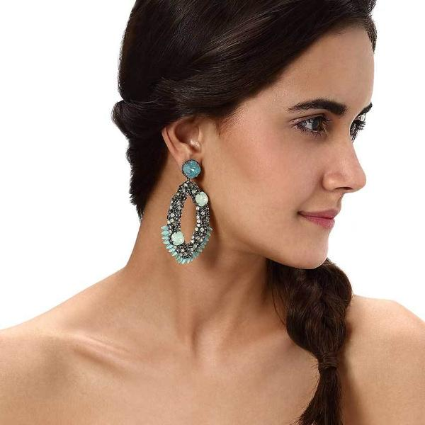 Model Wearing Deepa by Deepa Gurnani Handmade Lindsey Earrings