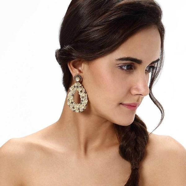 Model Wearing Deepa by Deepa Gurnani Handmade Gold Color Arabella Earrings