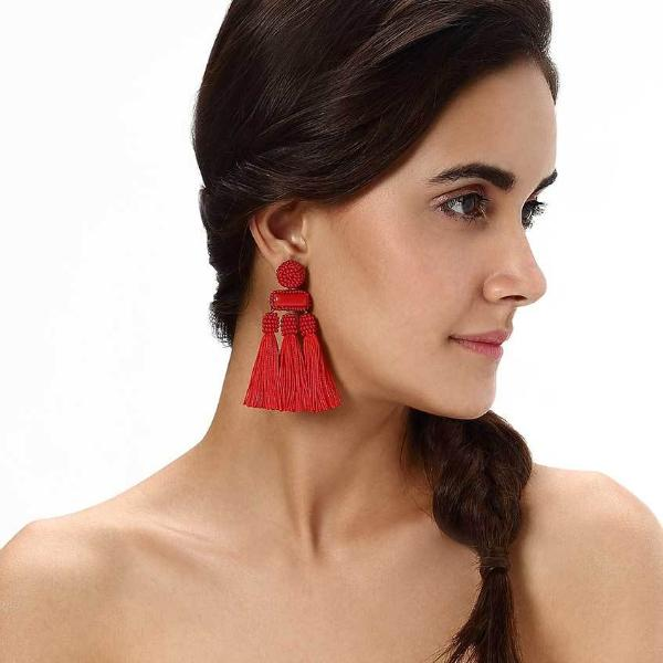 Model Wearing Deepa by Deepa Gurnani Handmade Red Maeve Earrings