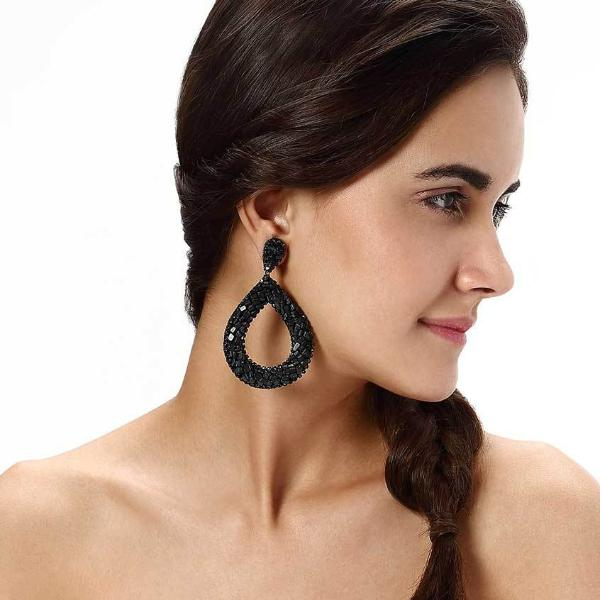 Model Wearing Deepa by Deepa Gurnani Handmade Anne Earrings in Black