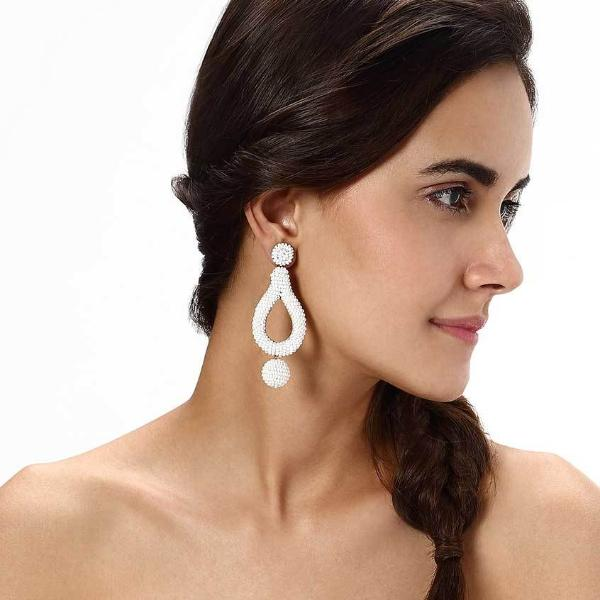 Model Wearing Deepa by Deepa Gurnani Handmade Hanna Earrings in White