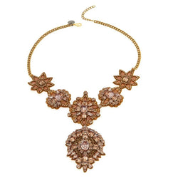 Hand Embroidered Gold Crystal Bid Necklace