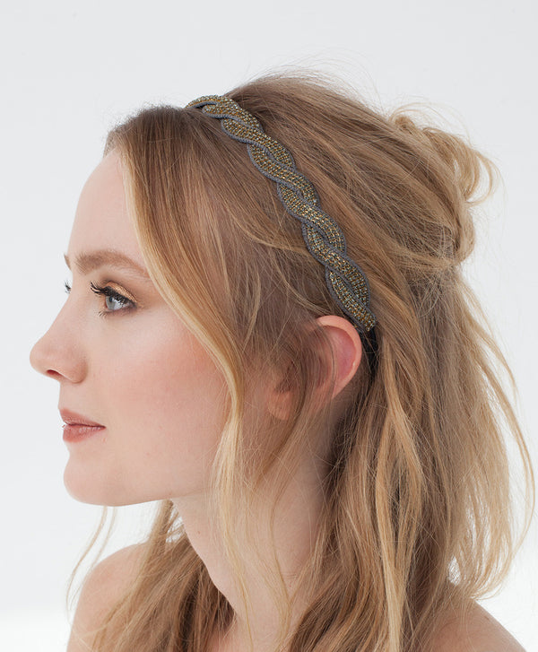 Model Wearing Deepa by Deepa Gurnani Handmade Ashley Headband in Gunmetal