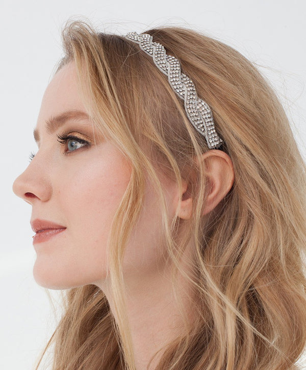 Model Wearing Deepa by Deepa Gurnani Handmade Ashley Headband in Silver
