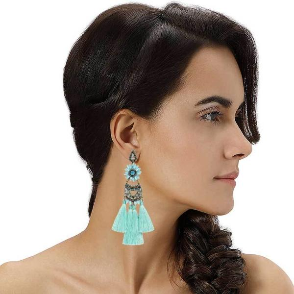 Model Wearing Deepa by Deepa Gurnani Handmade Turquoise Alysha Earrings