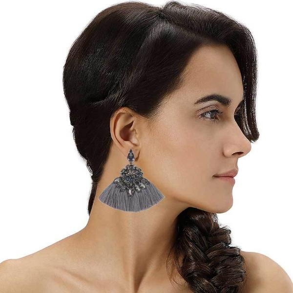Model Wearing Deepa by Deepa Gurnani Handmade Angie Rain Earrings Gunmetal
